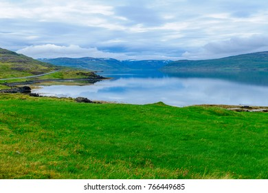 View of coastline and landscape along the Isafjordur fjord, in the west fjords region, Iceland