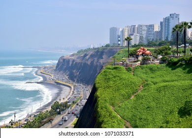 View of the coastline in Miraflores a district in the south of Lima, Peru.