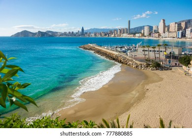 View of the coastline of Old Town and Poniente Beaches, Benidorm, Alicante, Spain