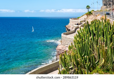 View of coastline from Puerto Rico to Amadores beach. Gran Canaria, Canary islands, Spain