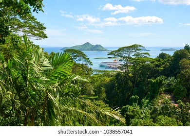 view of the coastline of the Seychelles Islands and Eden Island from Victoria viewpoint, Mahe