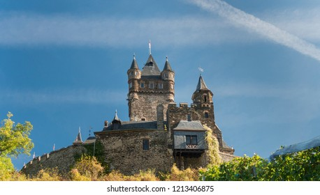 View of Cochem castle on top of the hill, Cochem, Germany