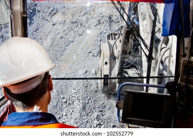 view from the cockpit of large mining excavator