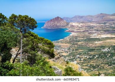view of Cofano mount and the Tyrrhenian coastline from Erice, Sicily, Italy