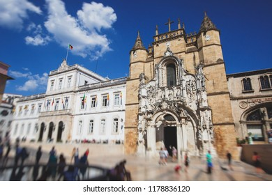 View of Coimbra, city in Portugal, with University of Coimbra, summer sunny day