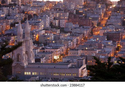 View from Coit Tower at dusk.  San Francisco, California, USA