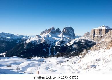 View of Col Rodella Sasso Piatto and Sassolungo, Canazei, Italy, Europe