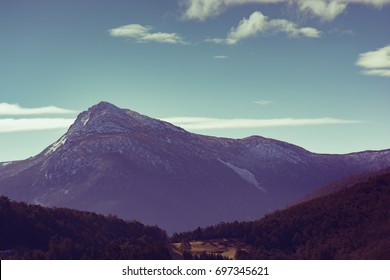 View of Collins Bonnet from the Huon Valley, Southern Tasmania, Australia