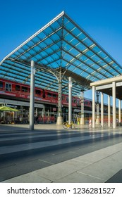 View of the Cologne Train Station and different Stores in Germany Cologne 2018.