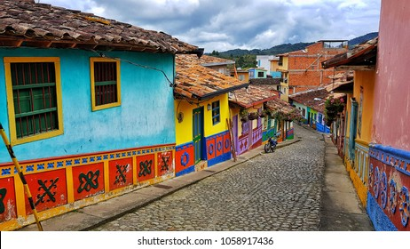 view of Guatapé Colombia. Colored facades and tradituon