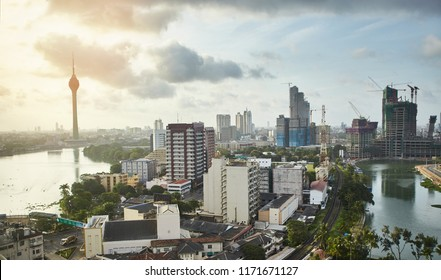 View to the Colombo modern architecture buildings and streets