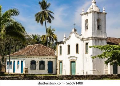 View of colonial church Igreja Nossa Senhora das Dores, Paraty, Brazil