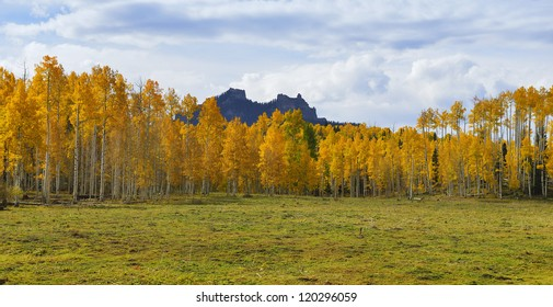view of colorado mountains and golden trees during fall season