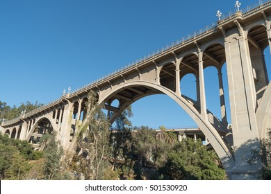 View of the Colorado St. Bridge in Pasadena, California, USA. Built in 1913 it is on the National Register of Historic Places. It has been designated a National Historic Civil Engineering Landmark.