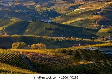 View of colorful autumnal vineyards and the hills of Langhe on sunset in Piedmont, Northern Italy.