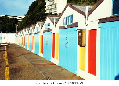 View of colorful boatshed in Wellington.