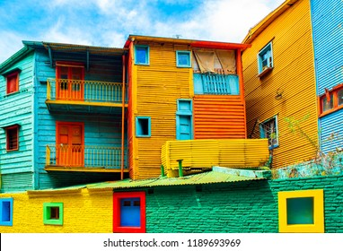 View of the colorful building in the city center, Buenos Aires, Argentina