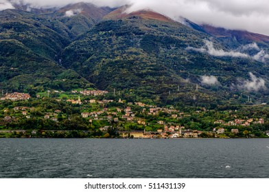 The view of colorful buildings, Como Lake, Italy.