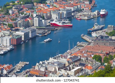 View of colorful city of Bergen, Norway