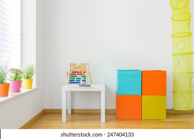 View of colorful furniture in children room