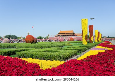 View of the colorful gardens at Tian An Men square, in Beijing, China