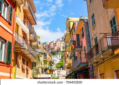 View of the colorful houses along the main street in a sunny day in Manarola. Manarola is one of the five famous Cinque Terre villages in natiolal park. Liguria, Italy, Europe