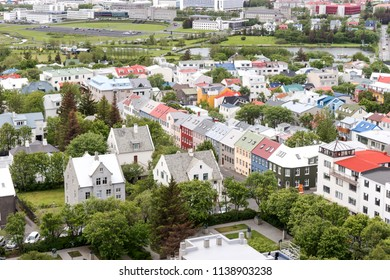 View of the colorful houses of downtown Reykjavik