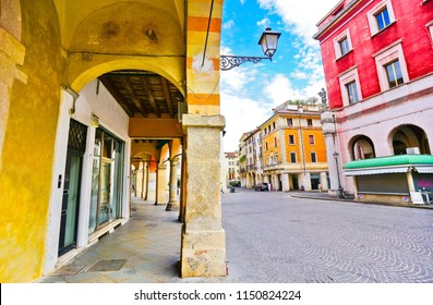 View of the colorful Italian houses in Padua, Italy.