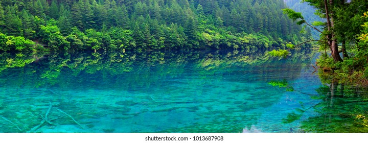 view of colorful lake in jiuzhaigou national park, Sichuan, china
