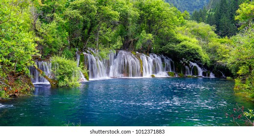 view of colorful lake and waterfall in jiuzhaigou national park, Sichuan, china