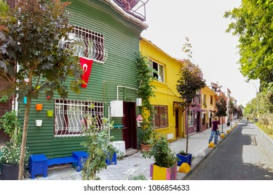 View of colorful old houses in the streets of Kadikoy, Istanbul, Turkey