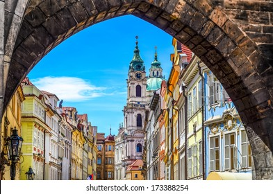 View of colorful old town in Prague taken from Charles bridge, Czech Republic