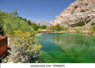 View of a colorful pond located in Whitewater Canyon near the desert town of Palm Springs, California.