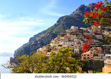 View of the colorful Positano town, the most famous place of the Amalfi Coast, South of Italy.