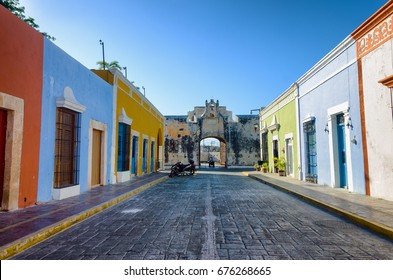 View of a colorful street with a fort in Campeche, Mexico