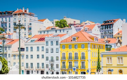 View of colorful Streets of Lisbon Lisboa, Portugal