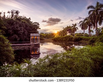 View of a colorful sunset by the lake in Recife, Pernambuco, Brazil.