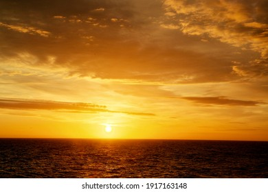 View of colorful sunset of the North-sea.