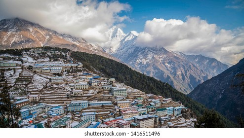 View of colorful tea house at Namche Bazaar, the largest village in Khumbu valley, Sagarmatha national park, Nepal
