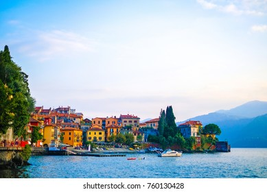View of colorful town and mountian background ,Lake como,Italy,Europe