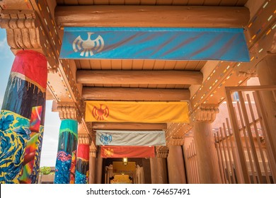 View of a colorful walkway in the plaza in downtown Santa Fe New Mexico.