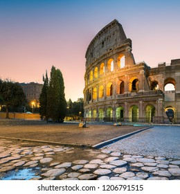 View of Colosseum (Coliseum) in Rome in morning before sunrise, Rome, Italy.