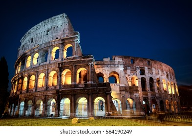 View of Colosseum at night in Rome , Italy, Europe.