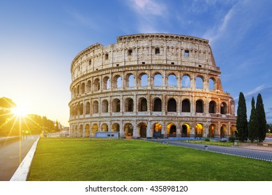 View of Colosseum in Rome at sunrise, Italy, Europe.