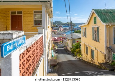 View of colourful houses overlooking the Carnarge of St George's, Grenada, Windward Islands, West Indies, Caribbean, Central America 2 February 2019