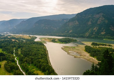 View of Columbia River Gorge as seen from top of Beacon Rock - Skamania County, WA