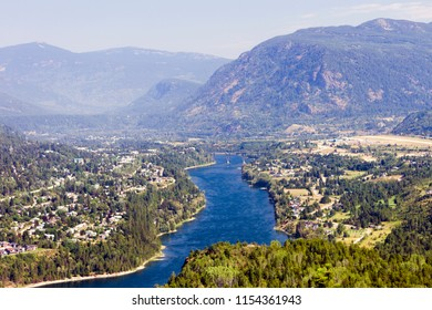 View of the Columbia River and Selkirk Mountains in Castlegar, West Kootenay, British Columbia, Canada.