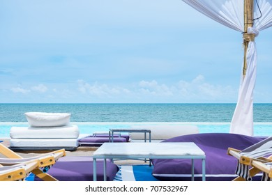 View of communication with tropical beach and blue sky in seenspace huahin Thailand.