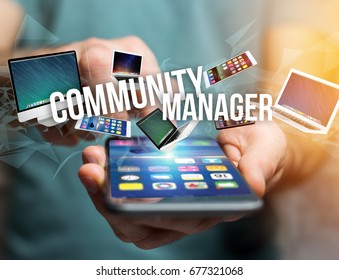 View of a Community manager title surounded by device like smartphone, tablet or laptop - Internet and communication concept