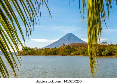 View at the Conception Volcano with Nicaragua lake at the Ometepe Island in Nicaragua